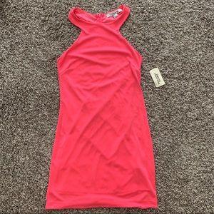 Neon Pink racer back mini dress